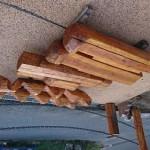 丸太階段の塗装